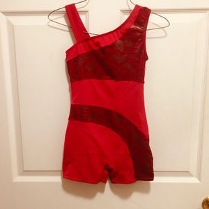 Gymnastics/ Dance  Unitard Red Child Large